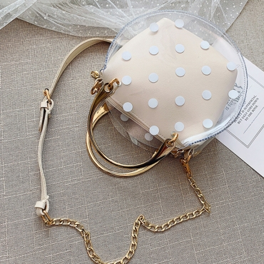Lovely Stylish Dot Printed See-through White PU Crossbody Bag