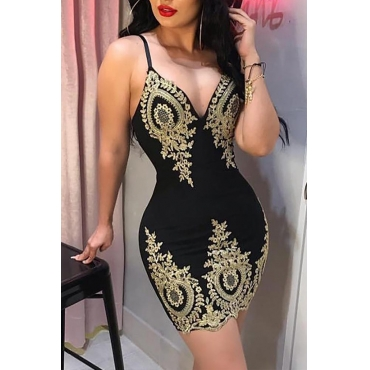 Lovely Sexy V Neck Spaghetti Straps Printed Black Knee Length Prom Dress