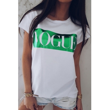 Lovely Casual Letter Printed Green T-shirt