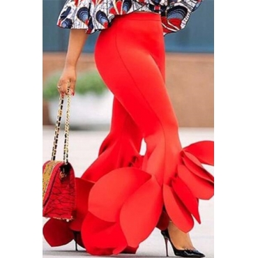 Lovely Stylish High Waist Ruffle Design Red Pants