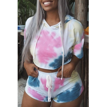 Lovely Casual Hooded Collar Printed Multicolor Two-piece Shorts Set