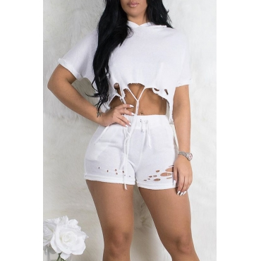 Lovely Casual Hooded Collar Broken Holes White Two-piece Shorts Set
