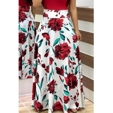 Lovely Stylish High Waist Floral Printed White Ankle Length A Line Skirt