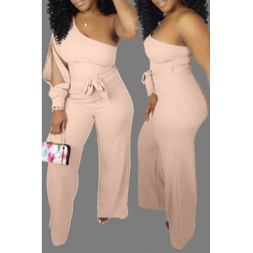 Lovely Casual One Shoulder Light Pink One-piece Jumpsuit(With Belt)