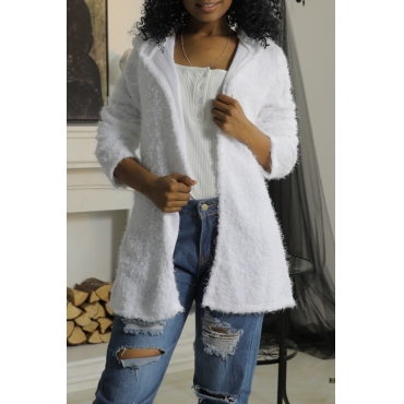 Lovely Stylish Hooded Collar White Wool Coat