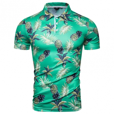 Lovely Casual Turndown Collar Printed Green Shirt