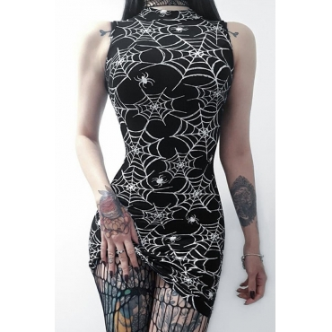 Lovely Casual Mandarin Collar Printed Black Mini Prom Dress
