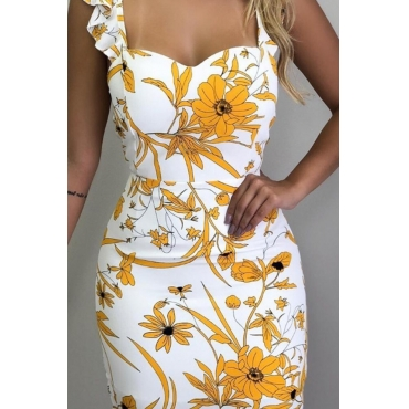 Lovely Stylish Floral Printed Yellow Mini Dress
