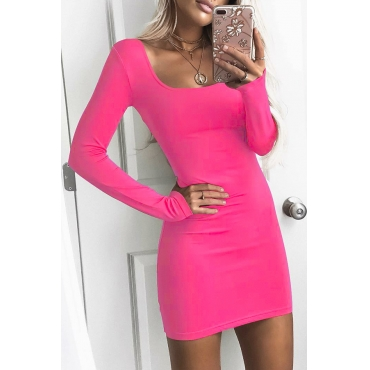 Lovely Casual Square Collar Rose Red Mini OL Dress