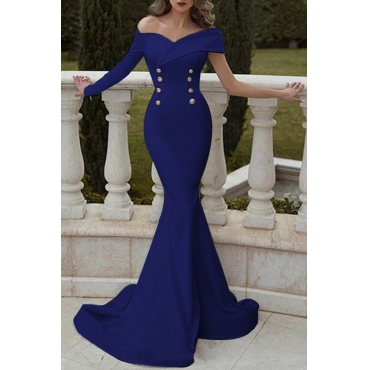 Lovely Elegant Off The Shoulder Double-breasted Decoration Blue Trailing Prom Dress