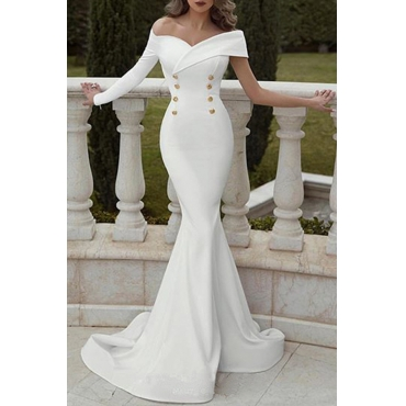 Lovely Elegant Off The Shoulder Double-breasted Decoration White Trailing Prom Dress