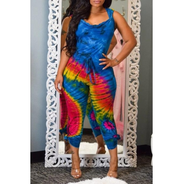 Lovely Casual Hooded Collar Printed Backless Blue One-piece Jumpsuit