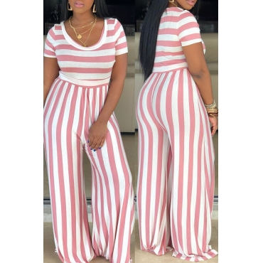 Lovely Casual O Neck Striped Pink One-piece Jumpsuit