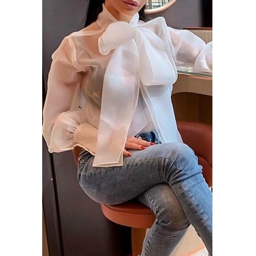 Lovely Sweet V Neck Bow-tie Decoration White Gauze Blouse