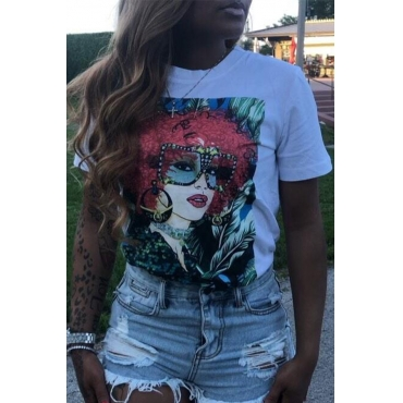 Lovely Casual O Neck Printed White T-shirt