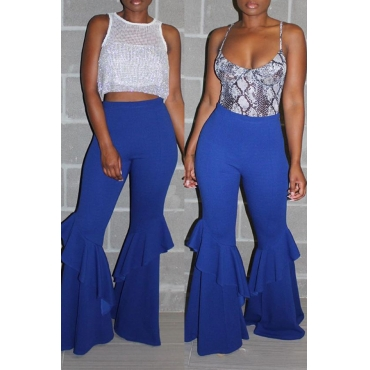Lovely Stylish High Waist Ruffle Patchwork Blue Pants