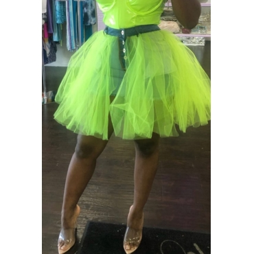 Lovely Sweet Gauze Patchwork Green Mini A Line Skirt