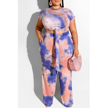 Lovely Casual O Neck Tie-dye Blue Plus Size Two-piece Pants Set