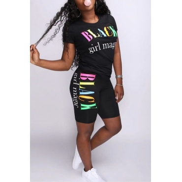 Lovely Casual O Neck Letter Printed Black Two-piece Shorts Set