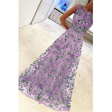 Lovely Stylish Gauze Patchwork Floral Printed Purple Ankle Length Prom Dress
