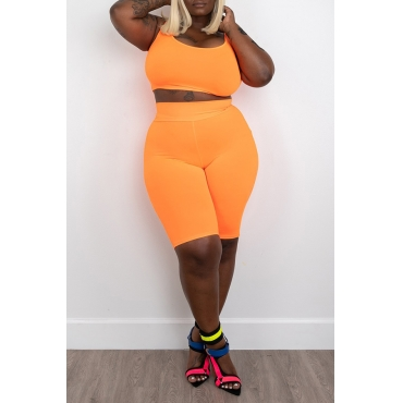 Lovely Casual Orange Plus Size Two-piece Shorts