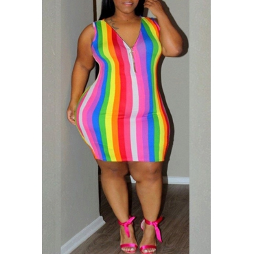 Lovely Casual V Neck Striped Multicolor Mini Plus Size Dress