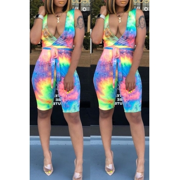 Lovely Chic Tie-dyed Blue One-piece Romper