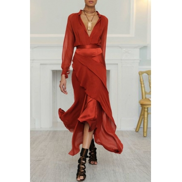 Lovely Bohemian Layered Cascading Red Ankle Length Prom Dress