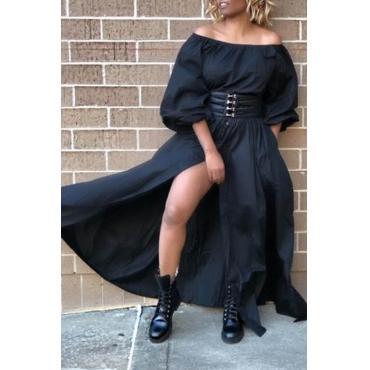 Lovely Stylish Off The Shoulder Split Black Floor Length A Line Dress(Without Belt)