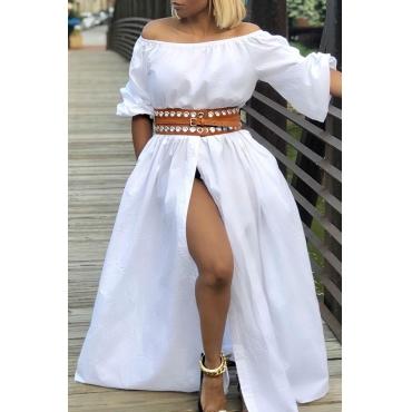 Lovely Stylish Off The Shoulder Split White Floor Length A Line Dress(Without Belt)