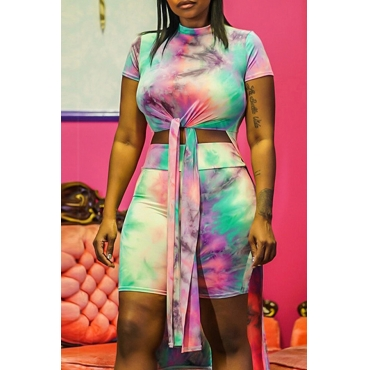 Lovely Casual O Neck Tie-dye Multicolor Two-piece Shorts Set
