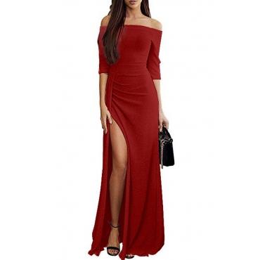 Lovely Stylish Off The Shoulder Side Split Red Floor Length Prom Dress