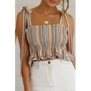 Lovely Sweet Spaghetti Straps Striped Apricot Tank Top