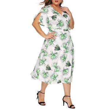 Lovely Stylish V Neck Printed White Knee Length A Line Dress