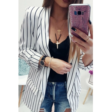 Lovely Stylish Striped White Jacket