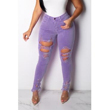 Lovely Casual High Waist Broken Holes Purple Jeans