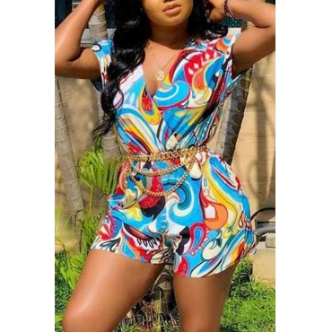 Lovely Stylish V Neck Printed Multicolor One-piece Romper