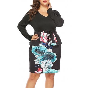 Lovely Stylish V Neck Printed Black Knee Length Dress