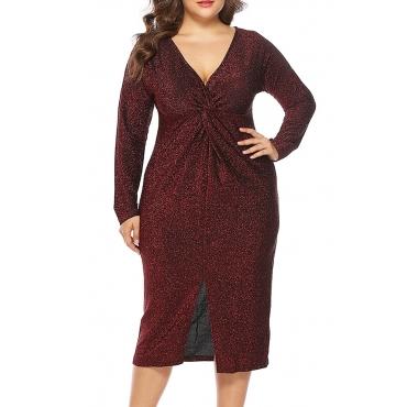 Lovely Stylish V Neck Split Red Knee Length Dress