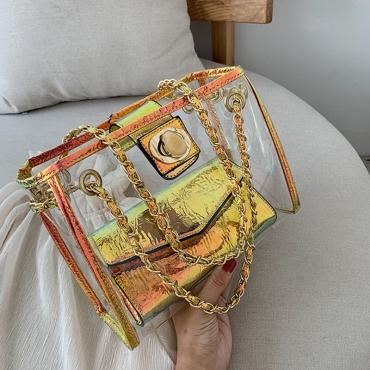 Lovely Chic Gold Transparent Jelly Messenger Bag