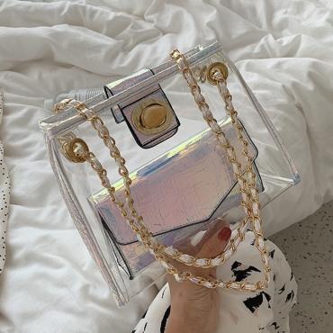 Lovely Chic White Transparent Jelly Messenger Bag