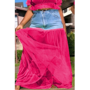 Lovely Casual Patchwork Rose Red Ankle Length Skirt