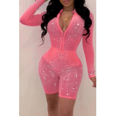 Lovely Sexy See-through Rose Red One-piece Romper