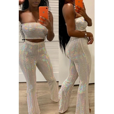 Lovely Stylish Off The Shoulder Sequins Decoration White Two-piece Pants Set