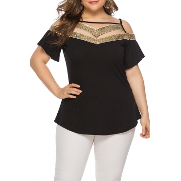 Lovely Stylish Patchwork Hollow-out Black Plus Size Blouse