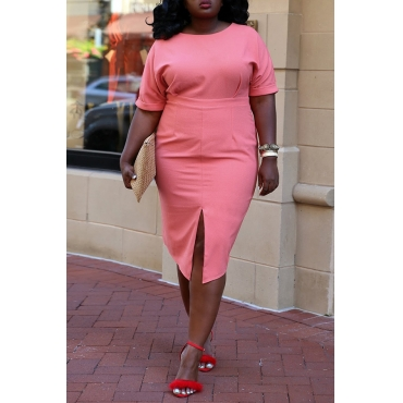 Lovely Stylish O Neck Split Pink Knee Length Plus Size Dress