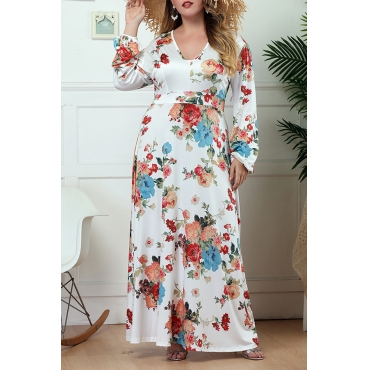 Lovely Bohemian U Neck Floral Printed White Floor Length A Line Plus Size Dress