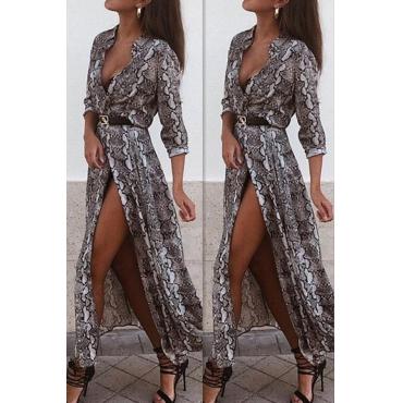 Lovely Stylish Snakeskin Pattern Printed Grey Ankle Length Dress