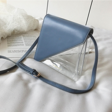 Lovely Stylish Patchwork See-through Blue Pvc Messenger Bag