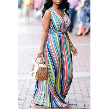 Lovely Casual V Neck Striped Backless Baby Blue Floor Length Printed Dress